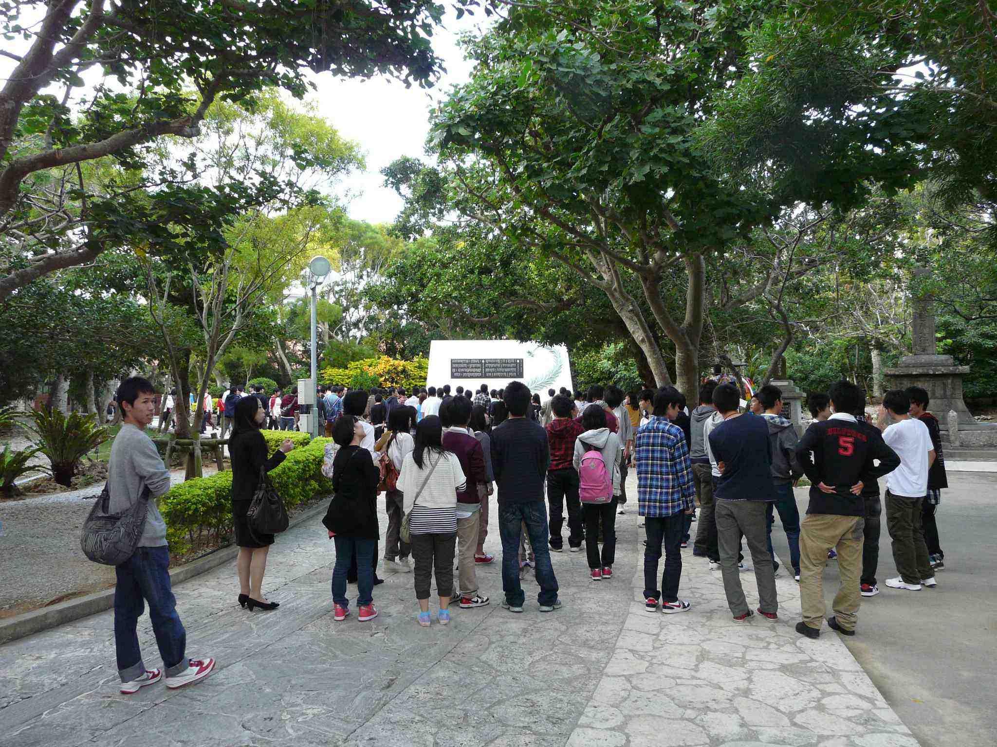 Tourists at Himeyuri Memorial