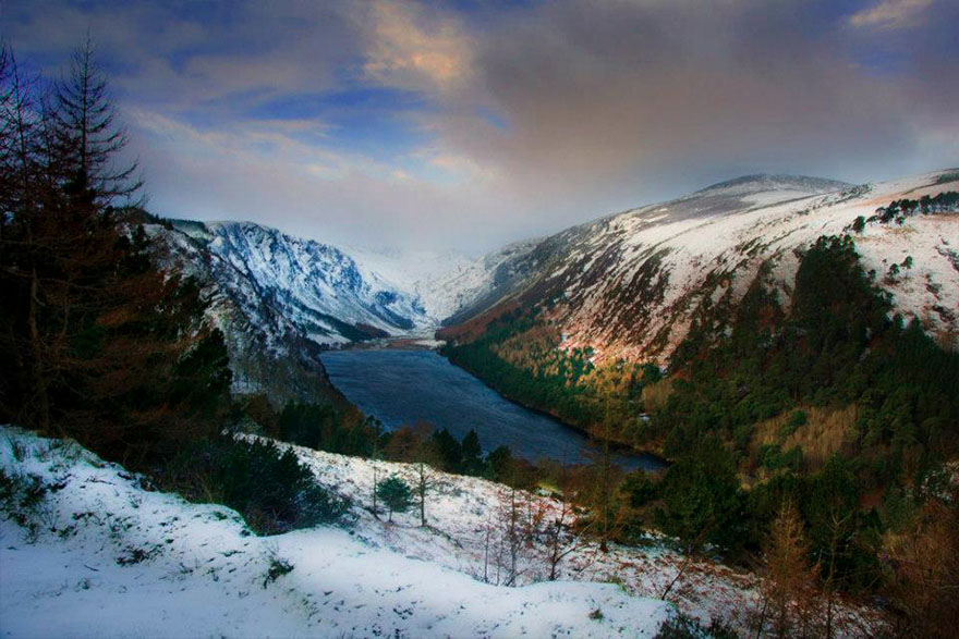 Glendalough (The Glen of Two Lakes) is a glacial valley nestled in the Wicklow Mountains, just south of Dublin.