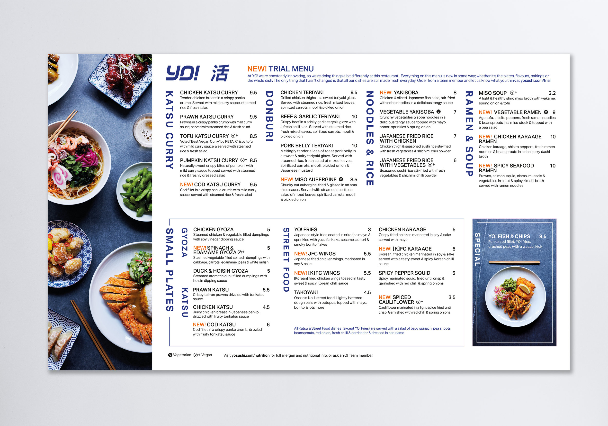 New hot dishes menu, featuring the new photography and clean typography