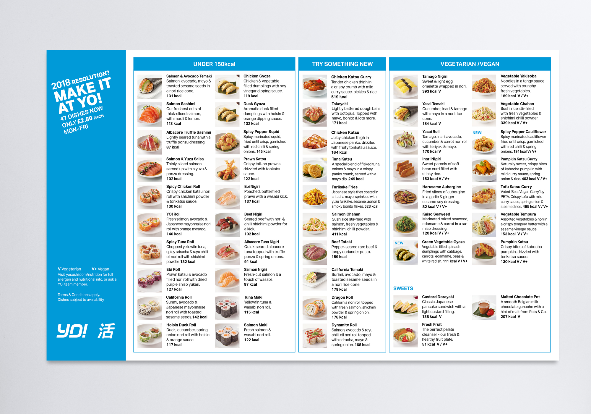 A new menu shows the variety of dishes at YO!in a simple and easy way.