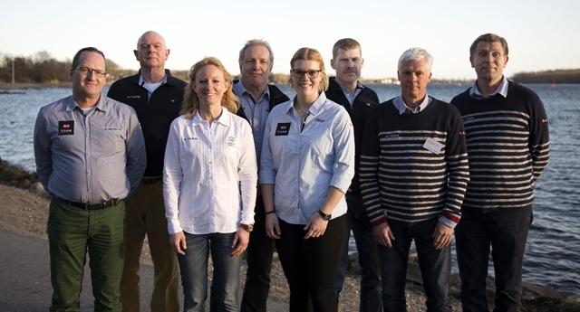 Fra venstre: Christian Hangel, Jens Haugard (nyvalgt), Line Markert (formand), Henrik Voldsgaard, Anne Skovbølling (nyvalgt), Thomas Ebert (nyvalgt), Peter Bjerremand og Jesper Anker Andersen.