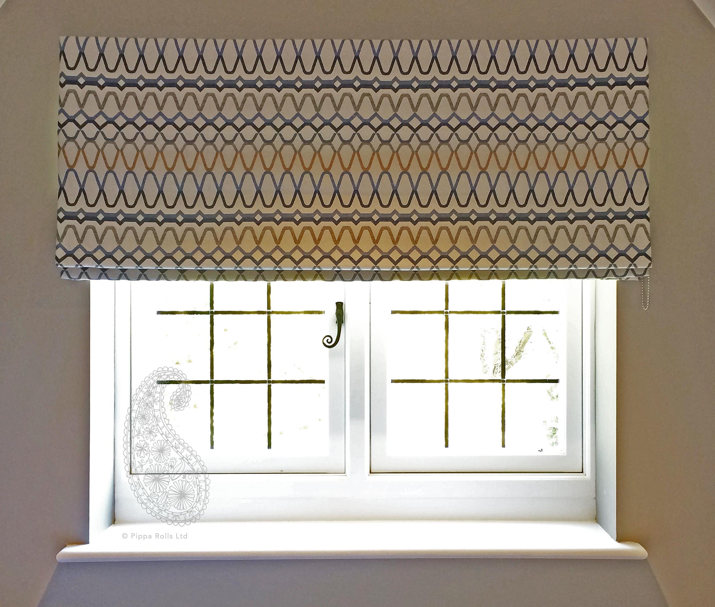 Sill width Roman blind for Jojo Humes Brown Designs Pippa Rolls Limited jpeg.jpg
