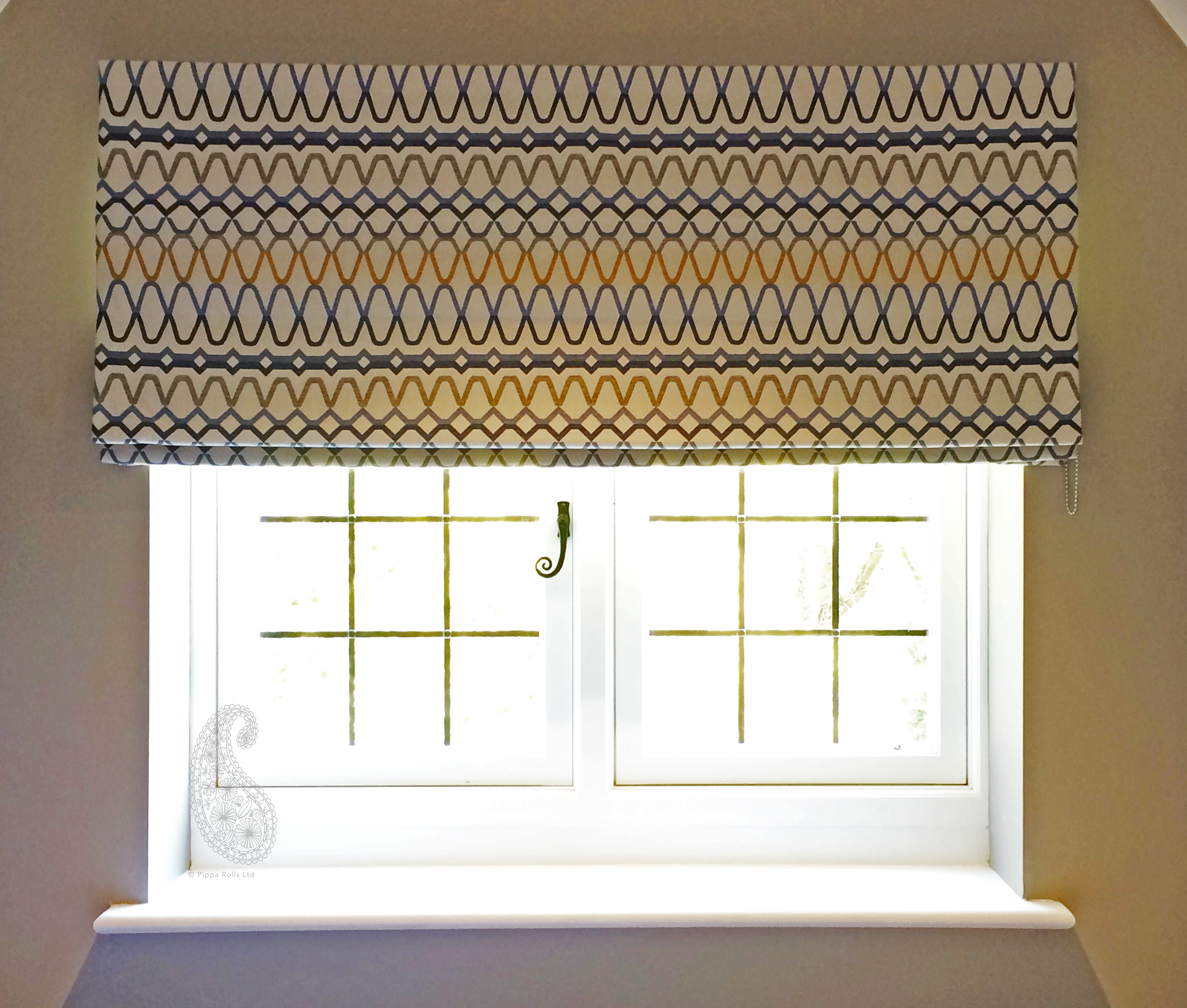 Sill width Roman blind for Jojo Humes Brown Designs Pippa Rolls Limited  jpeg.jpg