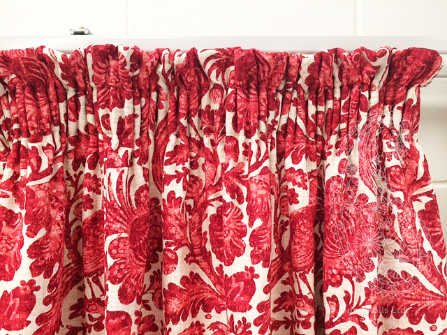gathered top curtains with a 5cms stand up hanging in our workroom. Pippa Rolls Limited jpeg.jpg