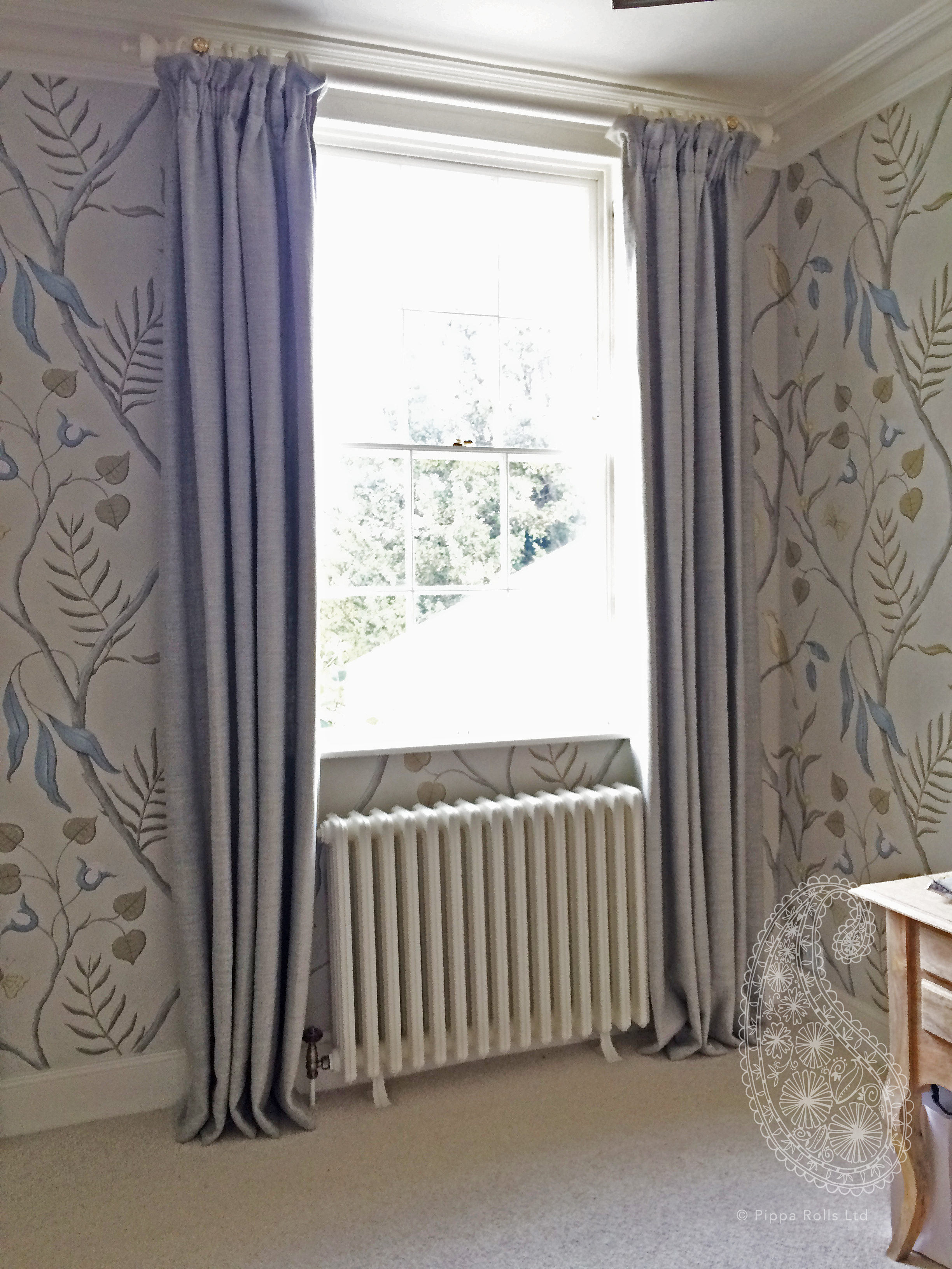 Gathered top curtains with a stand-up for Caroline Lloyd. Pippa Rolls Limited jpeg.jpg