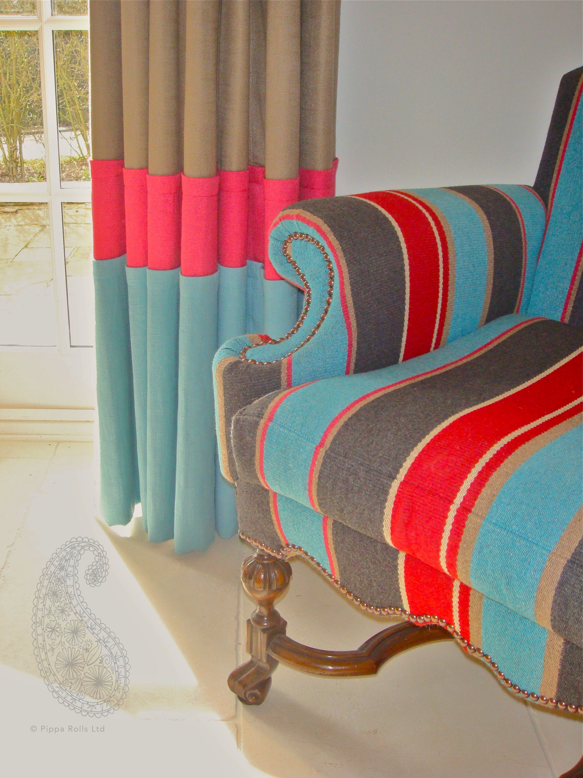 three colour curtain and armchair by Pippa Rolls Limted jpeg.jpg