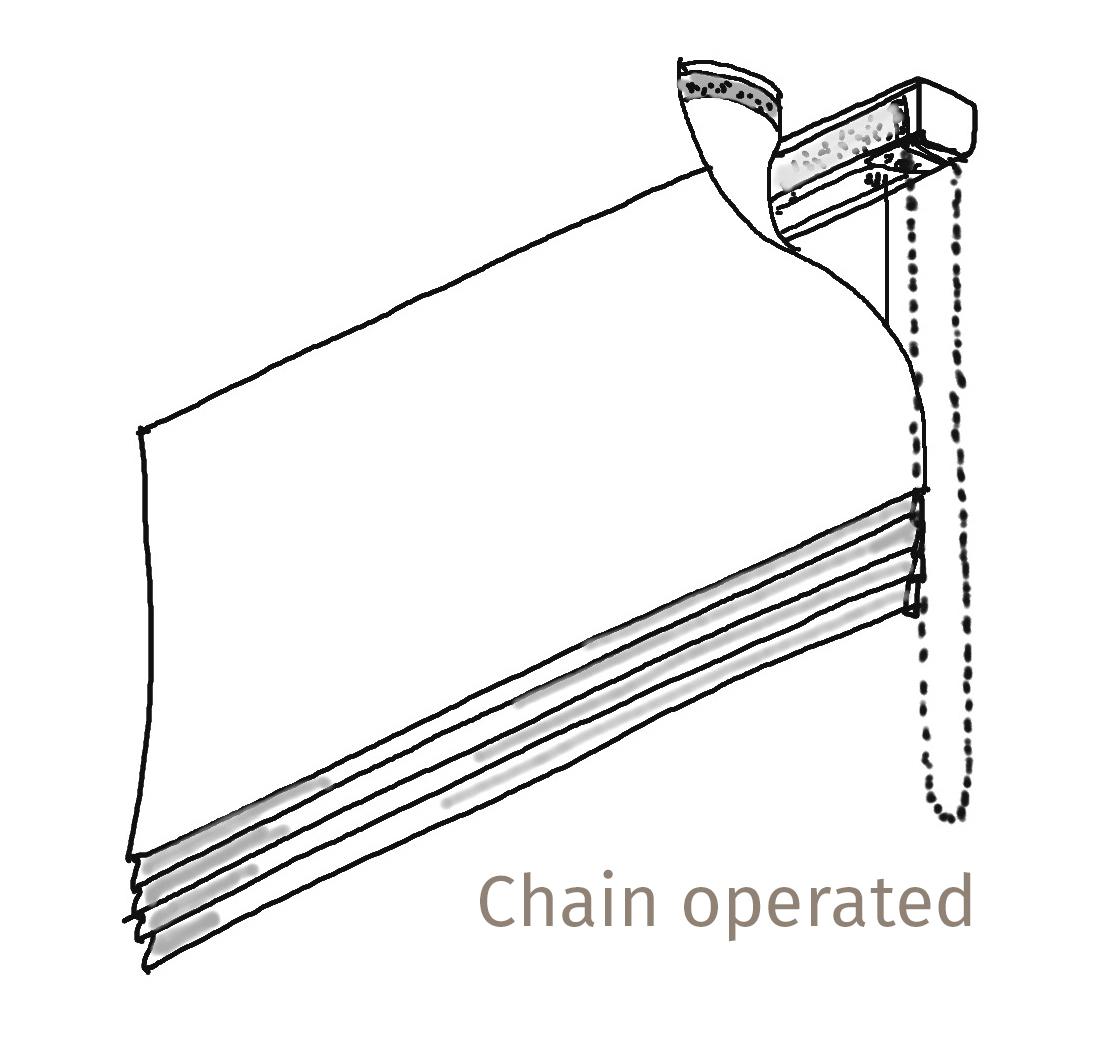 Pippa Rolls Roman blind headrail with chain
