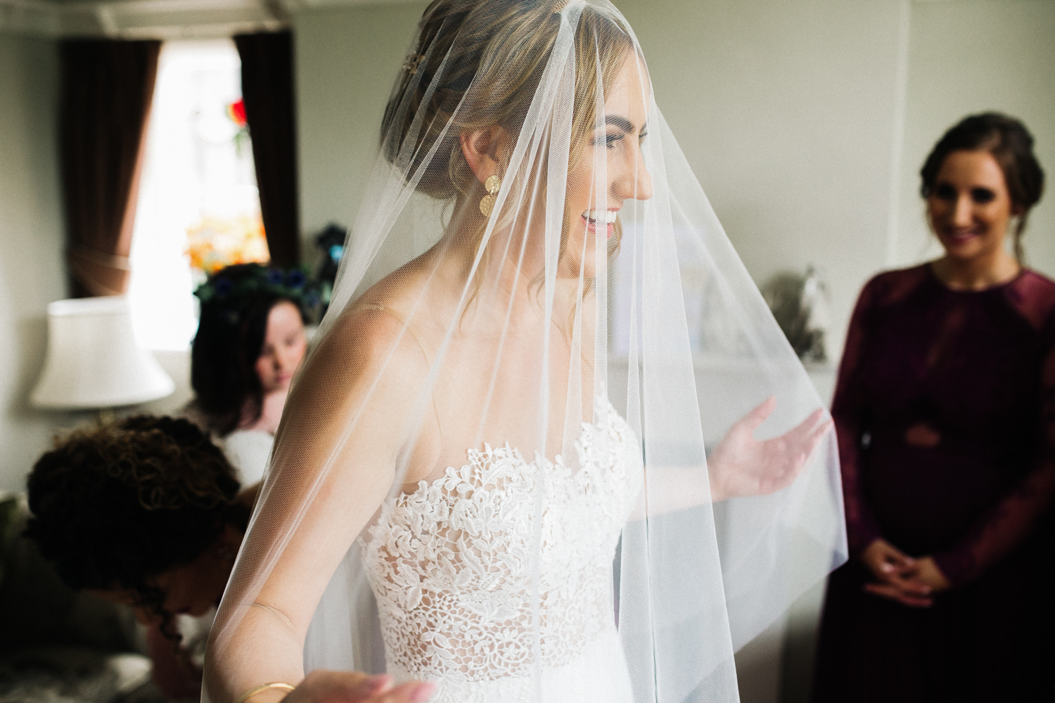 bride in a veil smiling. wedding at ormesby hall middlesbrough. stop motion wedding films videos uk