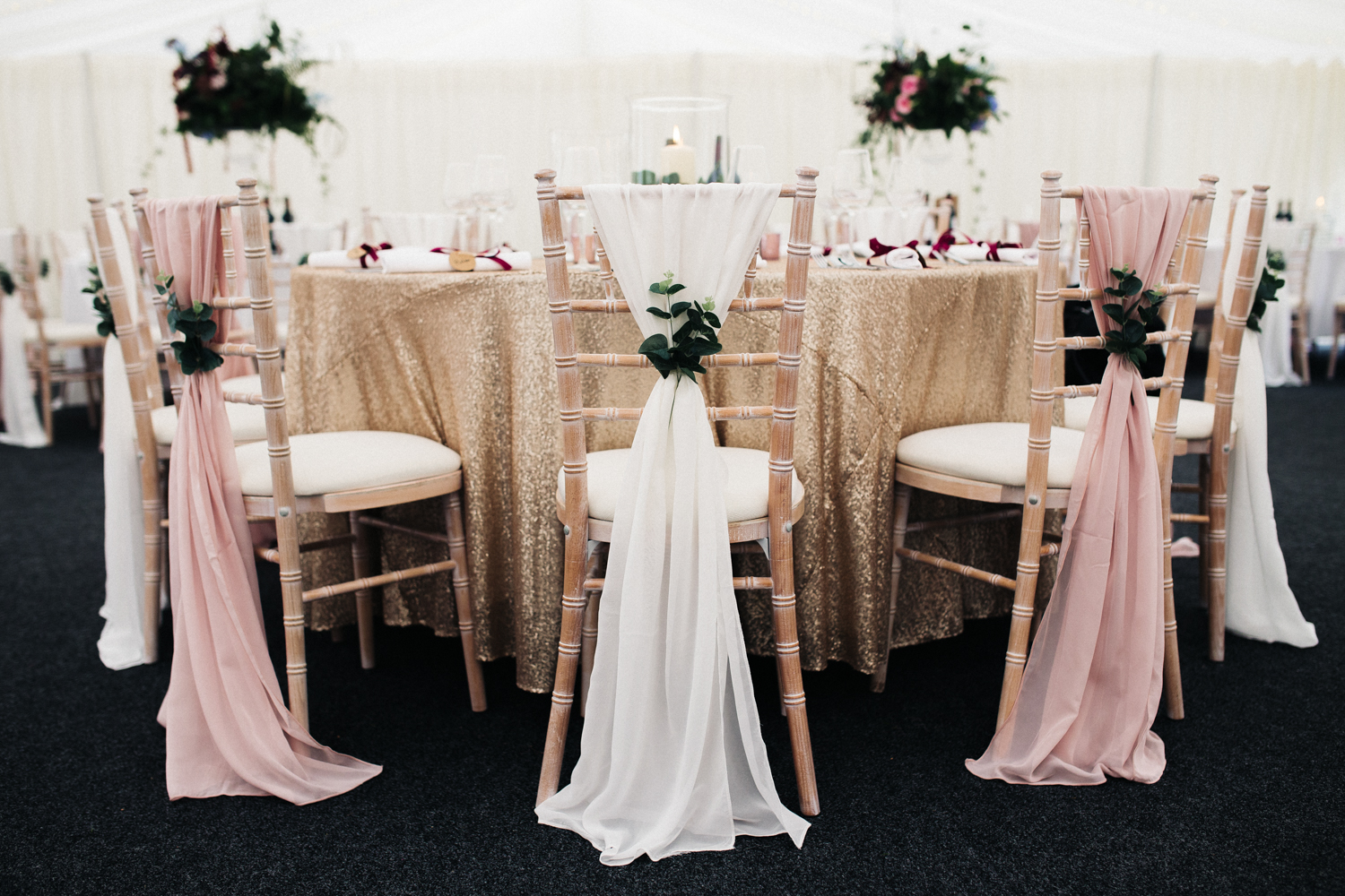 elegant draped chair covers with eucalyptus in pink and white. ormesby hall wedding middlesbrough photographer. stop motion wedding films videos uk