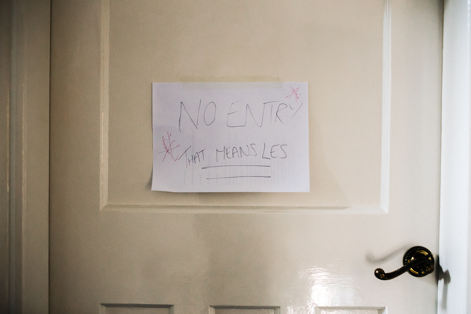 "a sign on the door says ""no entry"". talbot house wedding malton york. stop motion wedding films videos uk"