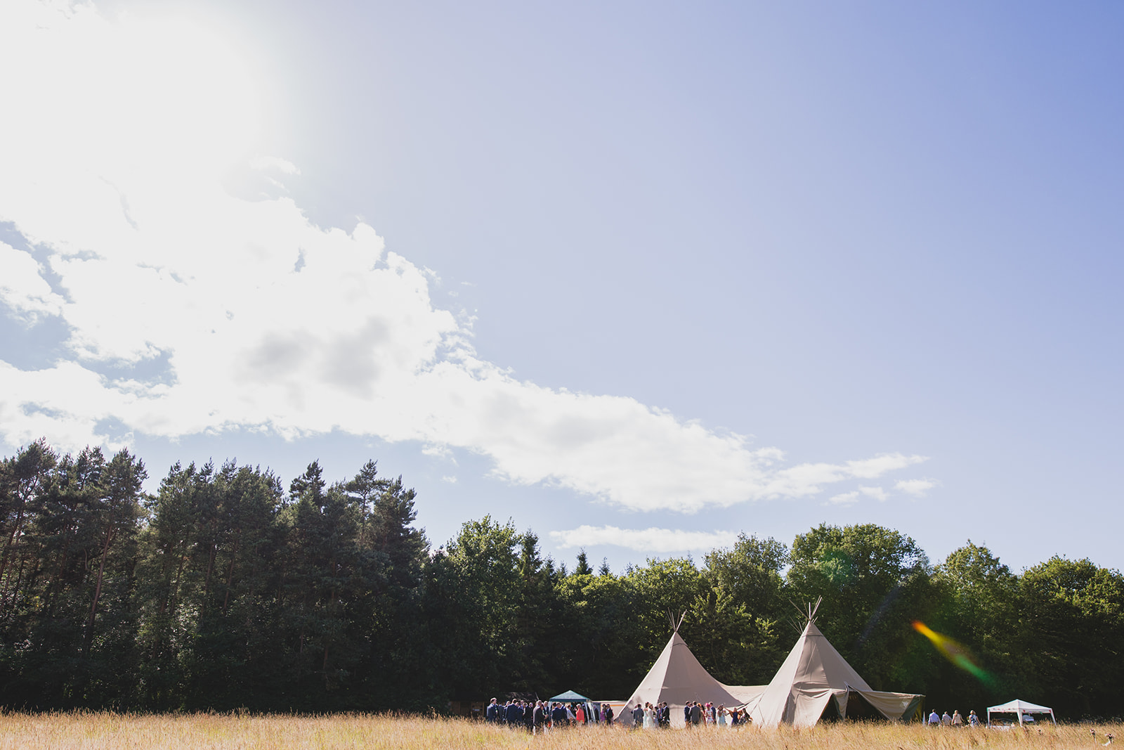 a wide shot of a tipi in fields. camp katur wedding north yorkshire tipi wedding venue glamping. stop motion wedding films uk