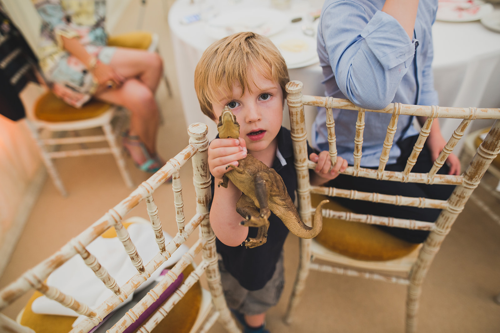 a boy wedding guests shows his toy dinosaur to the camera. underlay grange marquee wedding lake district. stop motion wedding films uk