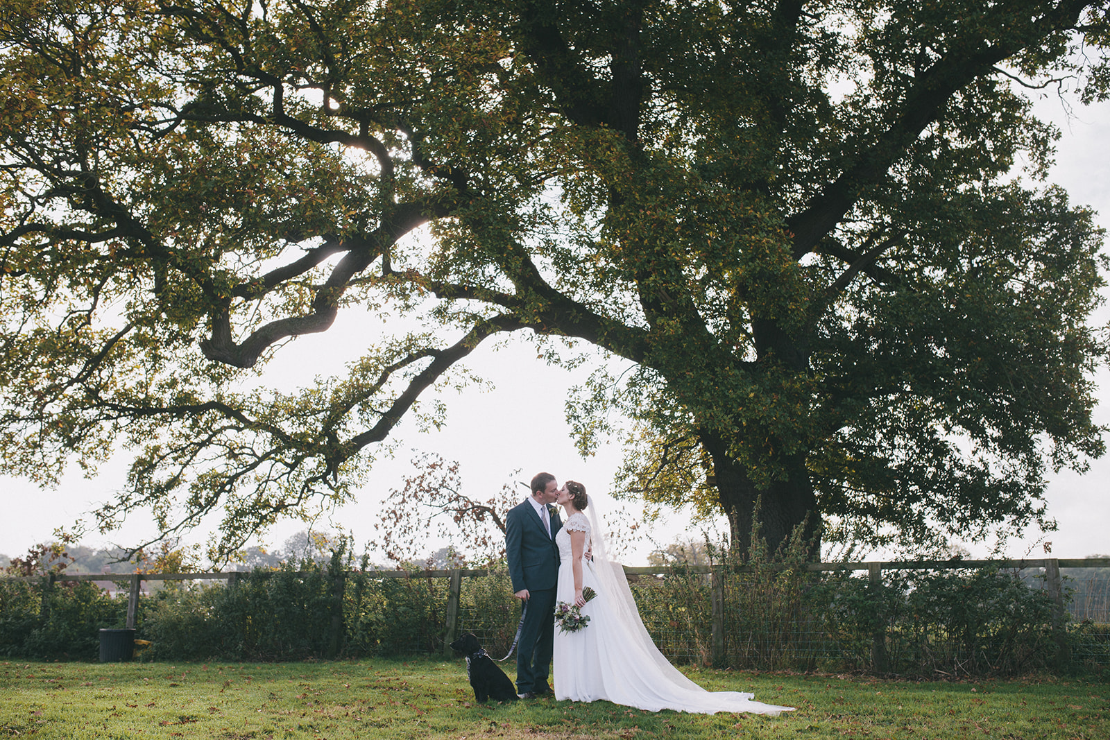 a wide shot of the bride and groom kissing with their dog. star inn at harome near helmsley, north yorkshire wedding photographer. stop motion wedding films uk.