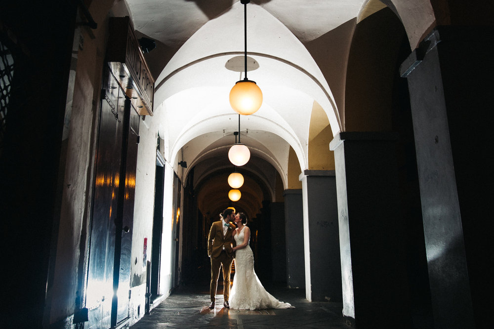 a nighttime shot of a bride and groom in an italian street. destination wedding hotel monte rosa chiavari italy. stop motion wedding films uk