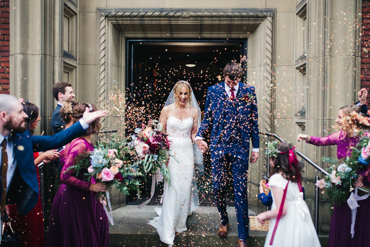 a confetti shot of the bride and groom. ormesby hall wedding middlesbrough teesside wedding photography and stop motion wedding films uk