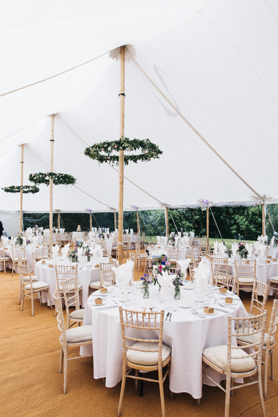interior of the marquee set up for the wedding. aldby park wedding york north yorkshire teesside photography stop motion wedding films uk.