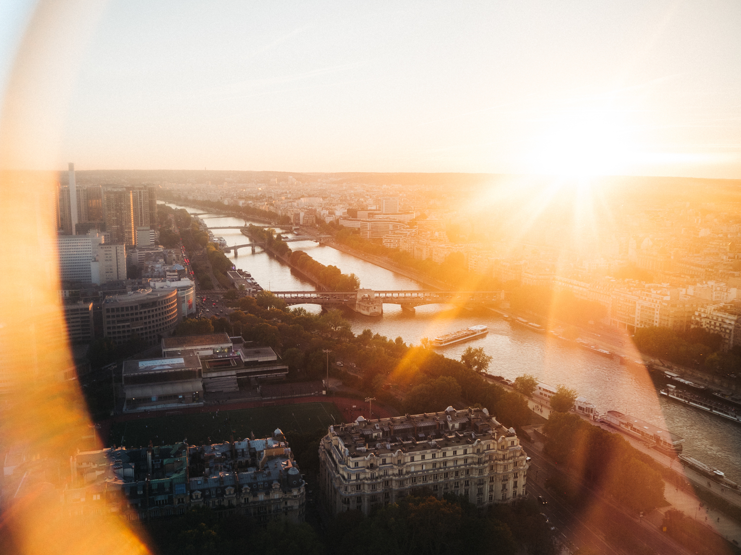 sunset shot of paris from the eiffel tower. creative travel photography travel blog paris france destination wedding photographer stop motion wedding films uk
