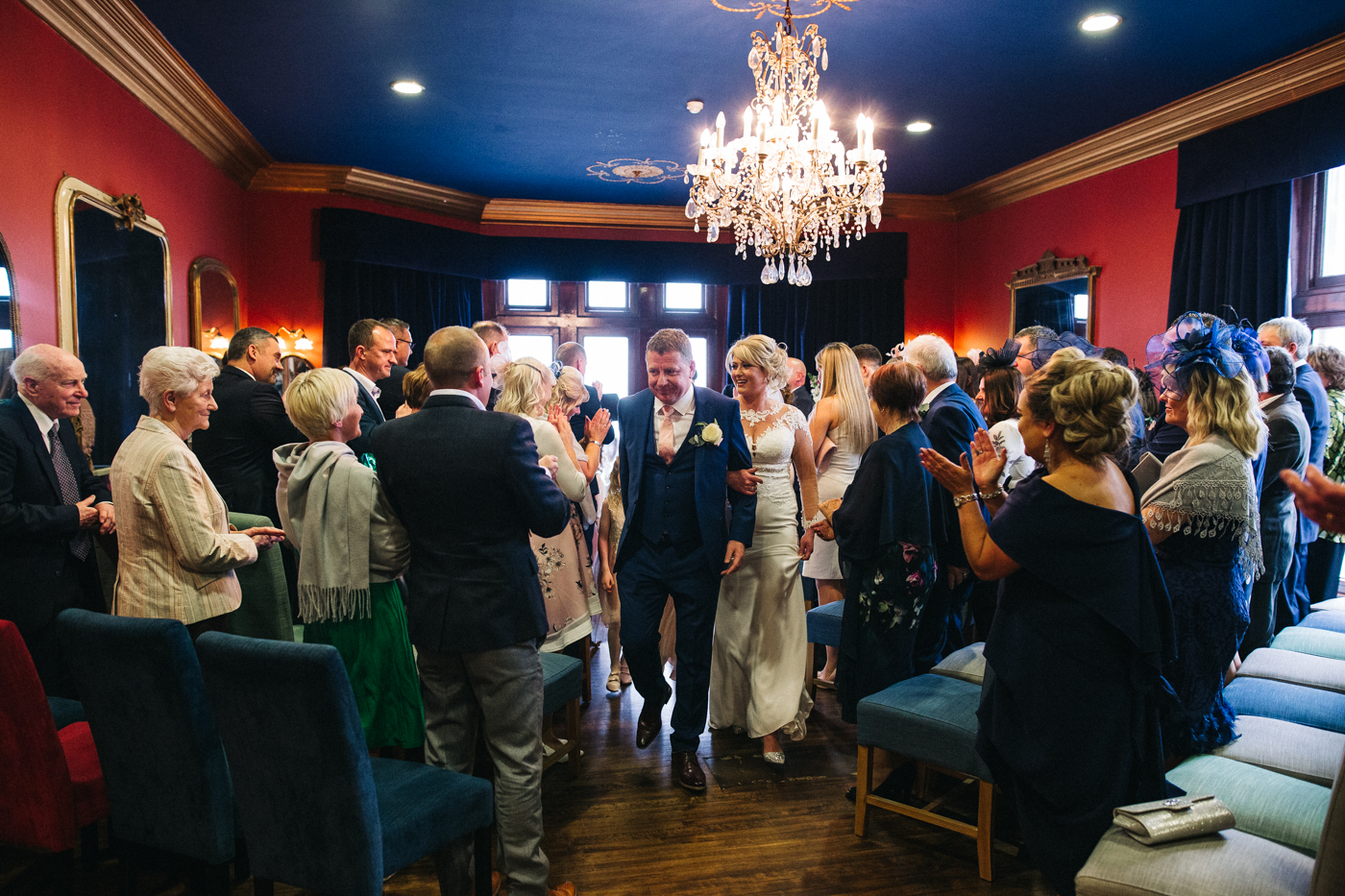 the bride and groom walk back up the aisle after their ceremony. cleveland tontine wedding teesside north yorkshire - relaxed and creative wedding photographer