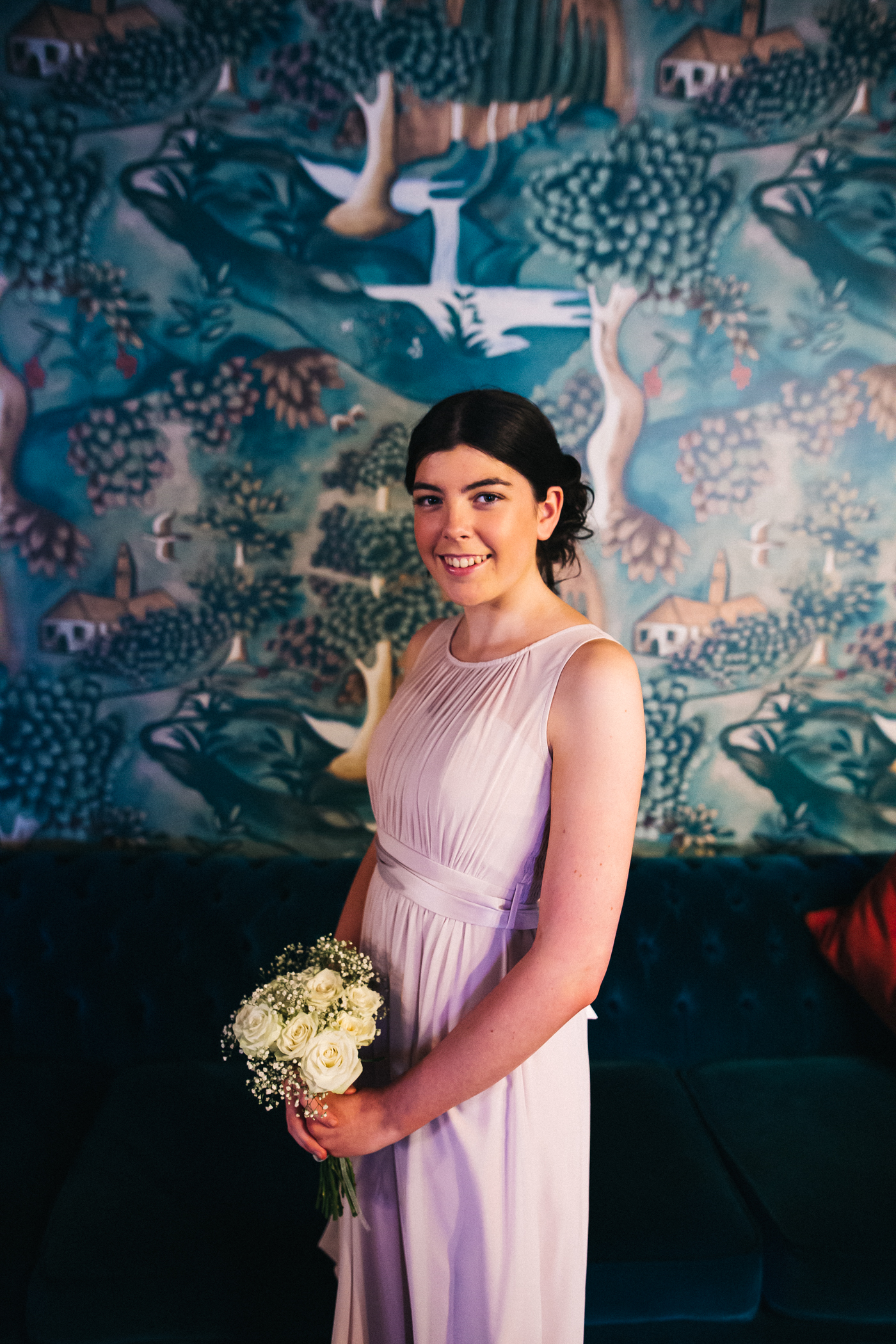 a portrait shot of a teenage bridesmaid. cleveland tontine wedding teesside north yorkshire - relaxed and creative wedding photographer