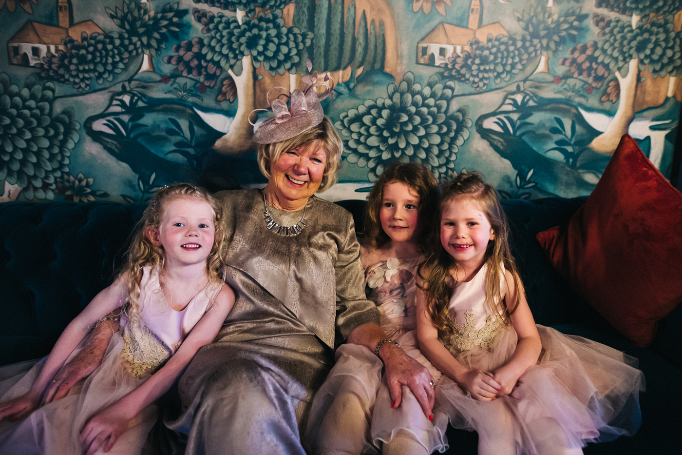 three young girls with their grandmother. cleveland tontine wedding teesside north yorkshire - relaxed and creative wedding photographer