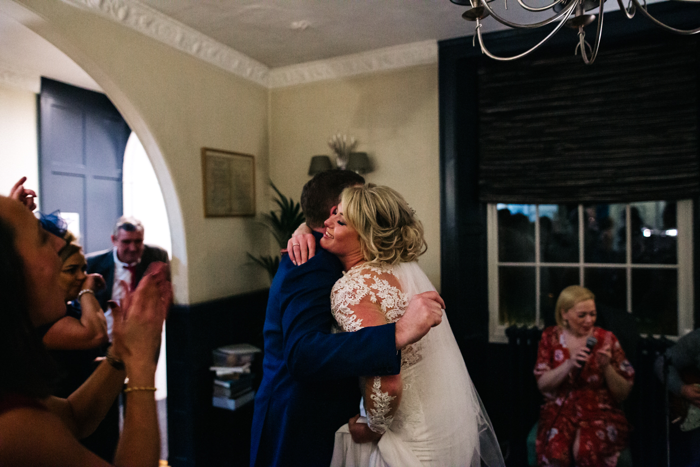 a bride and groom cuddle and dance. cleveland tontine wedding teesside north yorkshire - relaxed and creative wedding photographer
