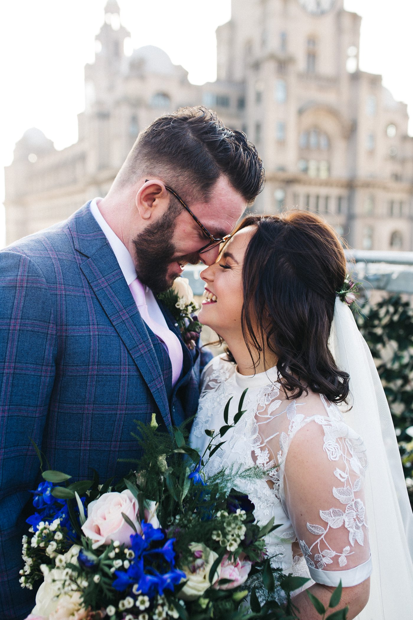 a close shot of the bride and groom face to face. ceremony at st georges hall liverpool, oh me oh my wedding reception, north west wedding photographer