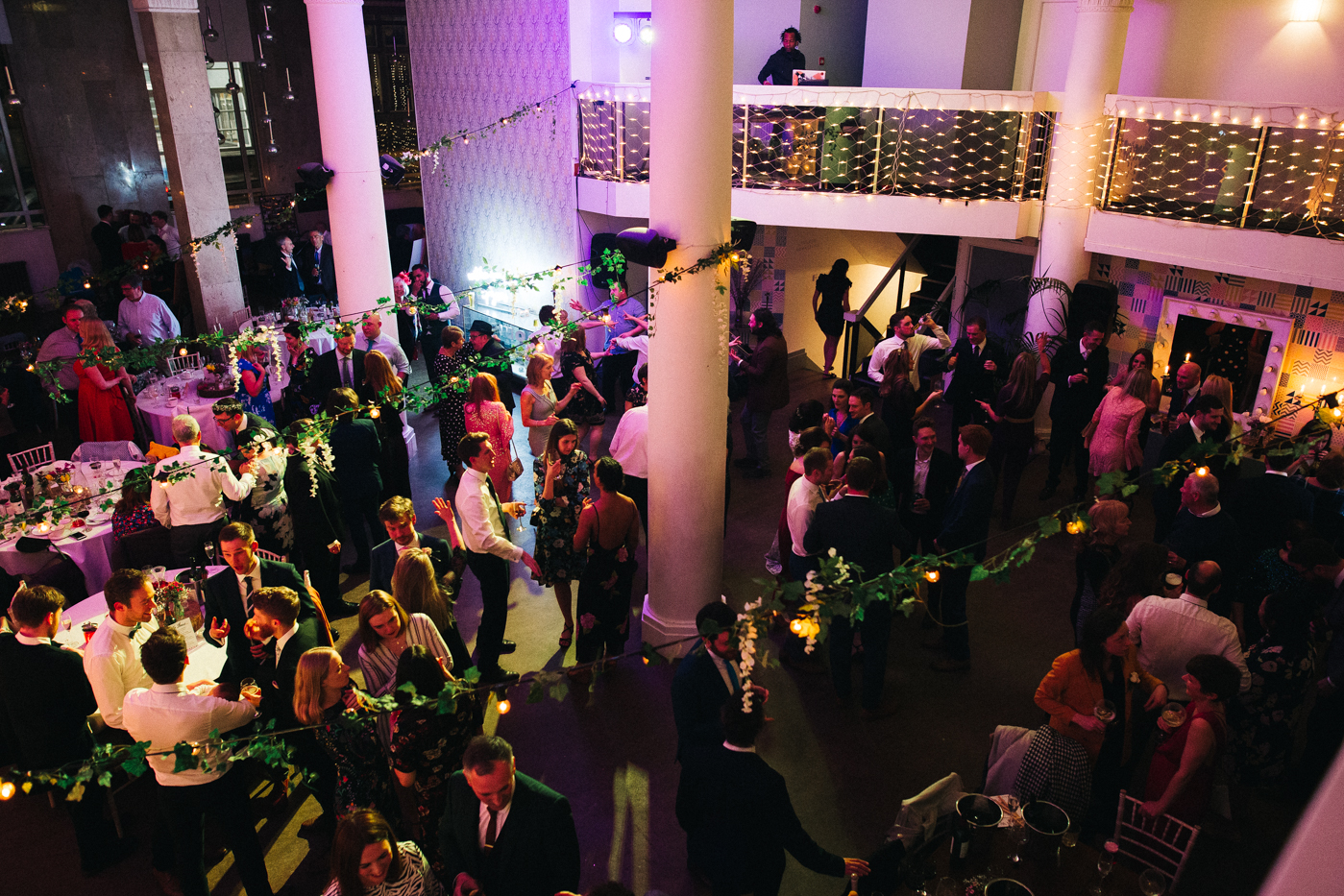 a wide shot from above of the dance floor. ceremony at st georges hall liverpool, oh me oh my wedding reception, north west wedding photographer