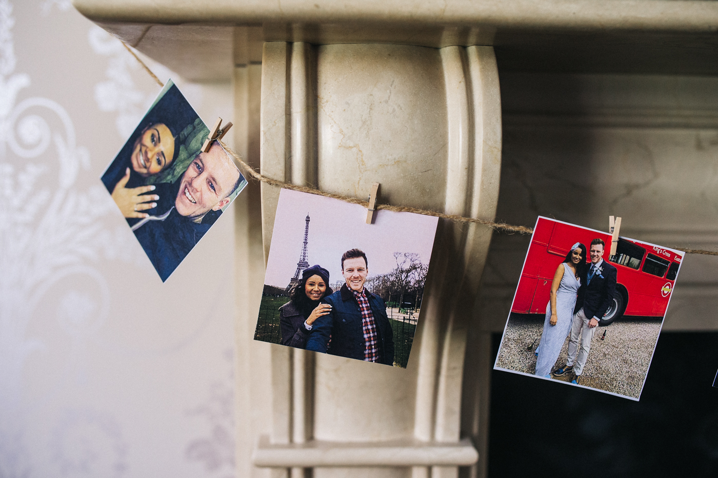 photos of the couple as decoration. relaxed teesside middlesbrough wedding photographer, wedding at home