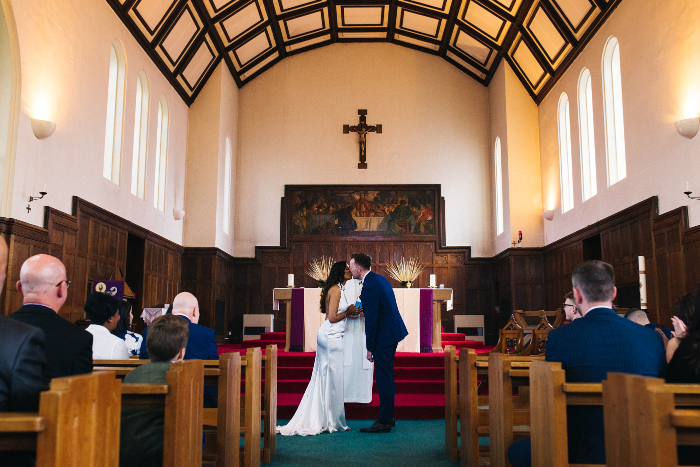 the bride and groom stand together during the ceremony. relaxed teesside middlesbrough wedding photographer, wedding at home