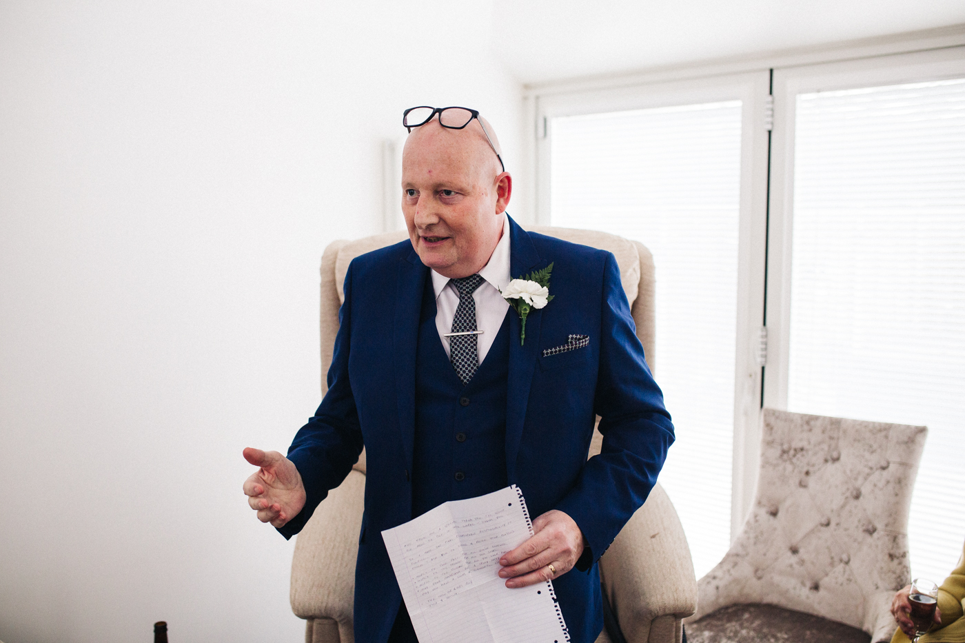 the bride's dad does his speech. relaxed teesside middlesbrough wedding photographer, wedding at home