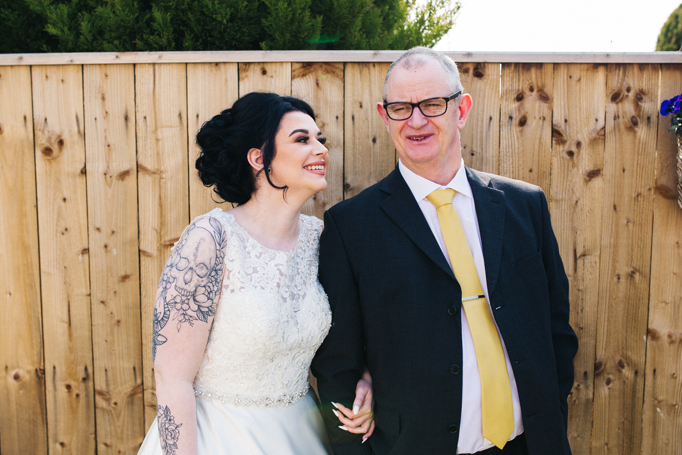 a bride smiles at her dad. preston park museum wedding stockton teesside middlesbrough wedding photographer