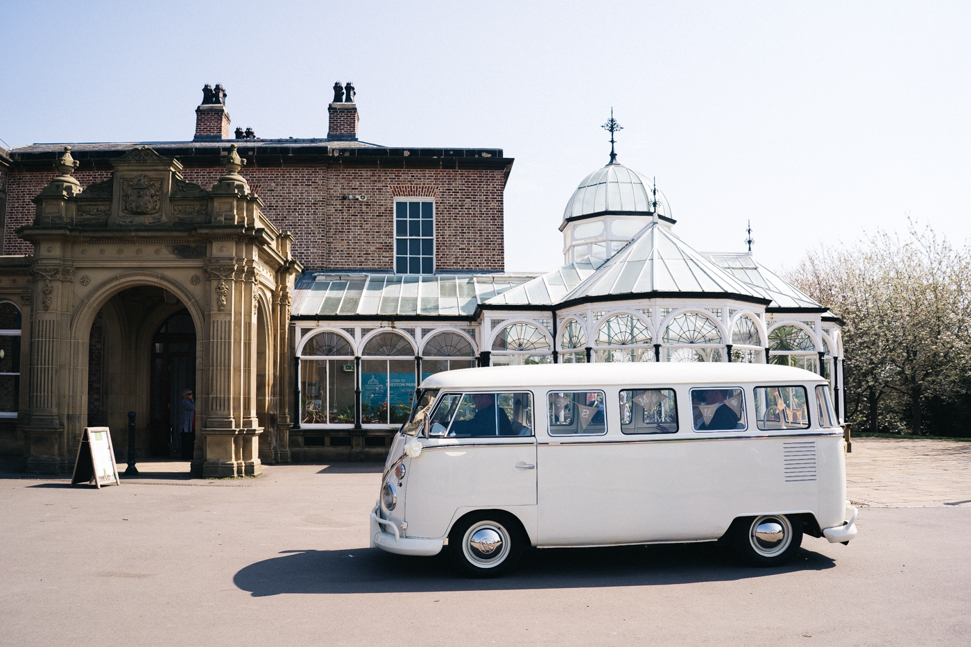 a white campervan outside of the wedding venue. preston park museum wedding stockton teesside middlesbrough wedding photographer