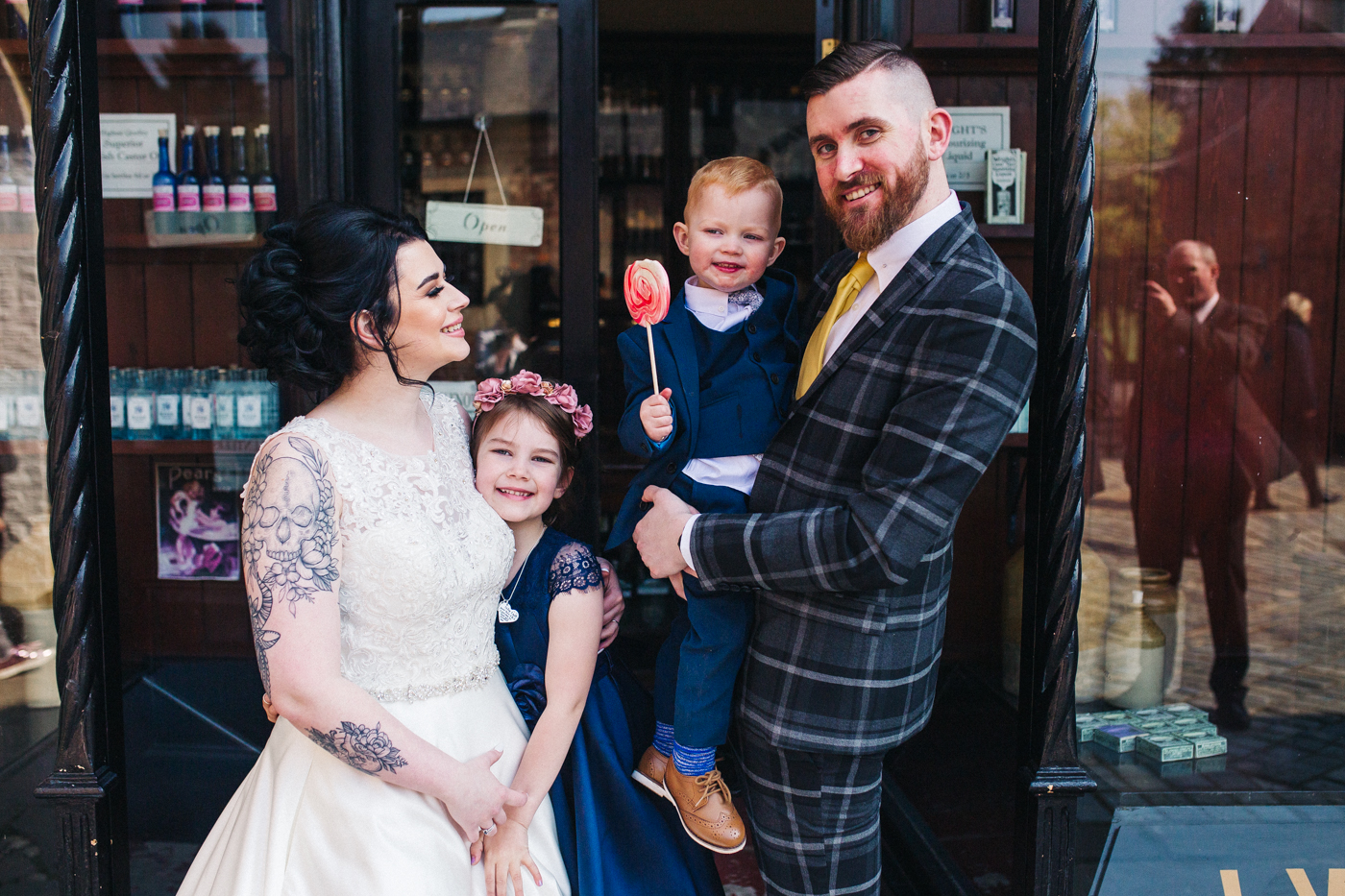 a family photo of the bride and groom with their two cgildren. preston park museum wedding stockton teesside middlesbrough wedding photographer