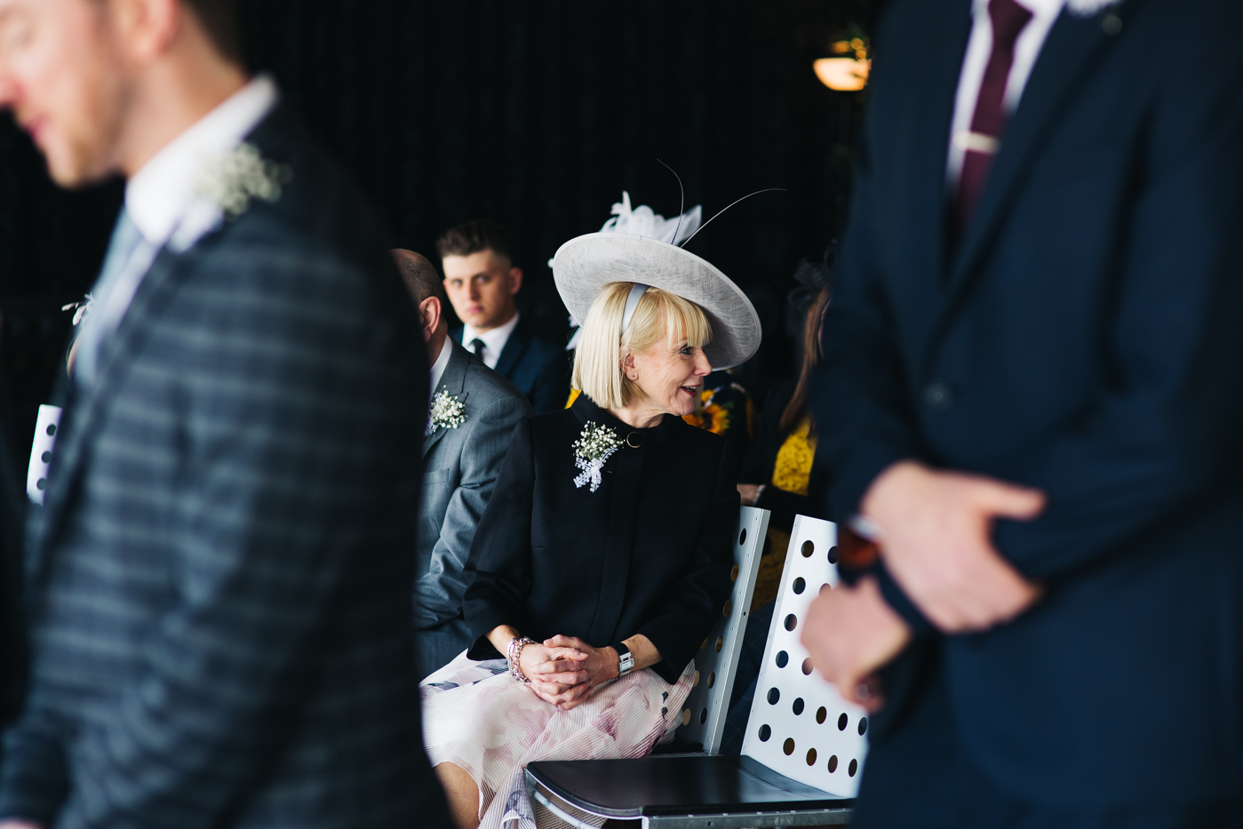 the groom's mum looks back at the aisle during the ceremony. wedding at the baltic newcastle gateshead north east photographer