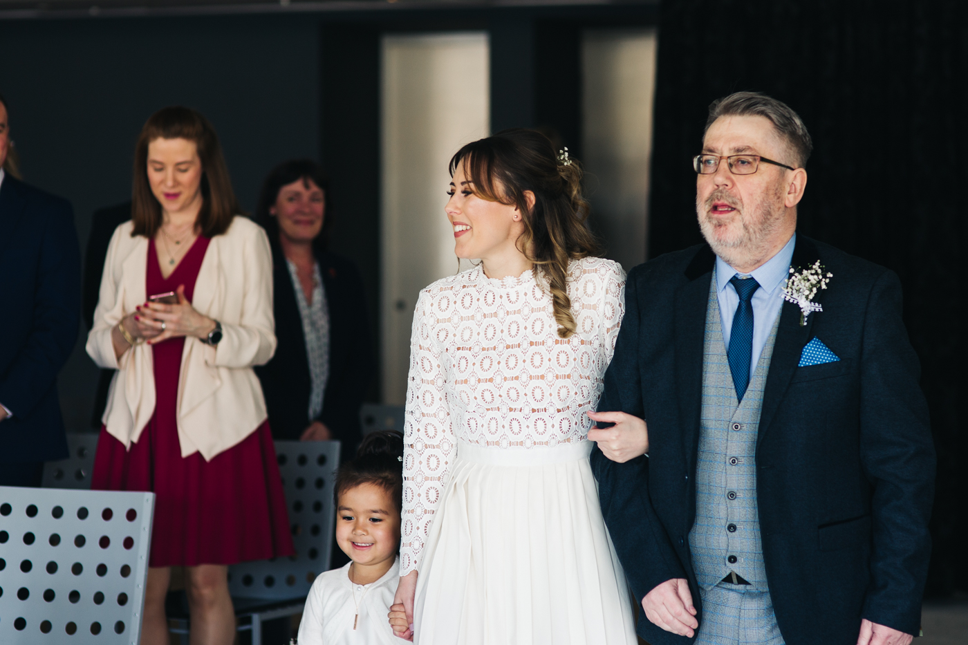 the bride walks down the aisle with her dad. wedding at the baltic newcastle gateshead north east photographer