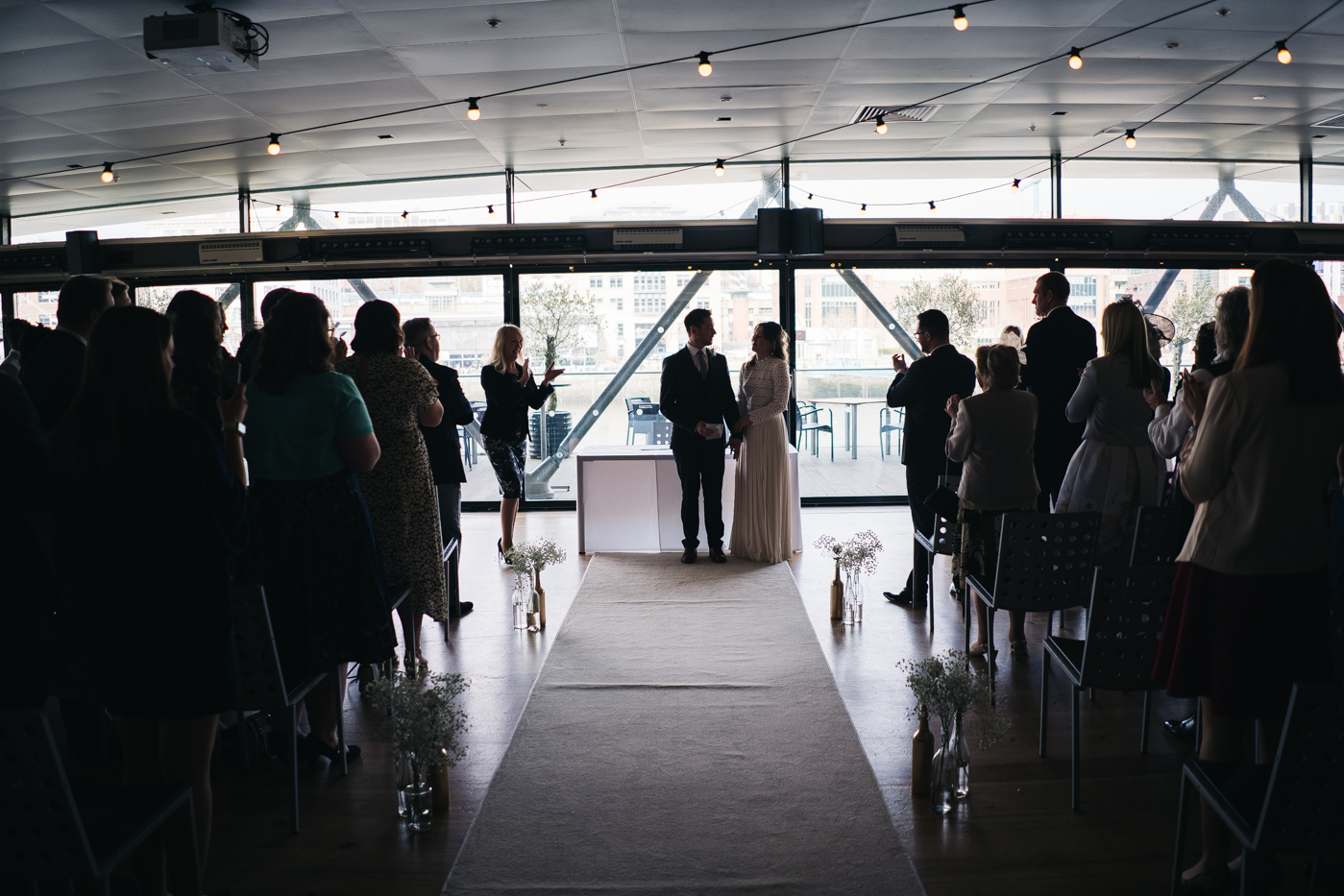 a wide shot of the ceremony. wedding at the baltic newcastle gateshead north east photographer