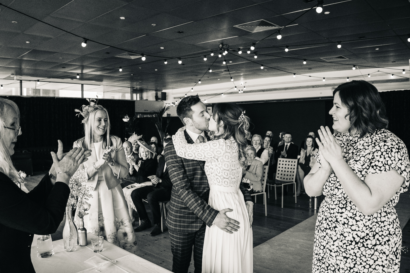 the first kiss during the ceremony. wedding at the baltic newcastle gateshead north east photographer
