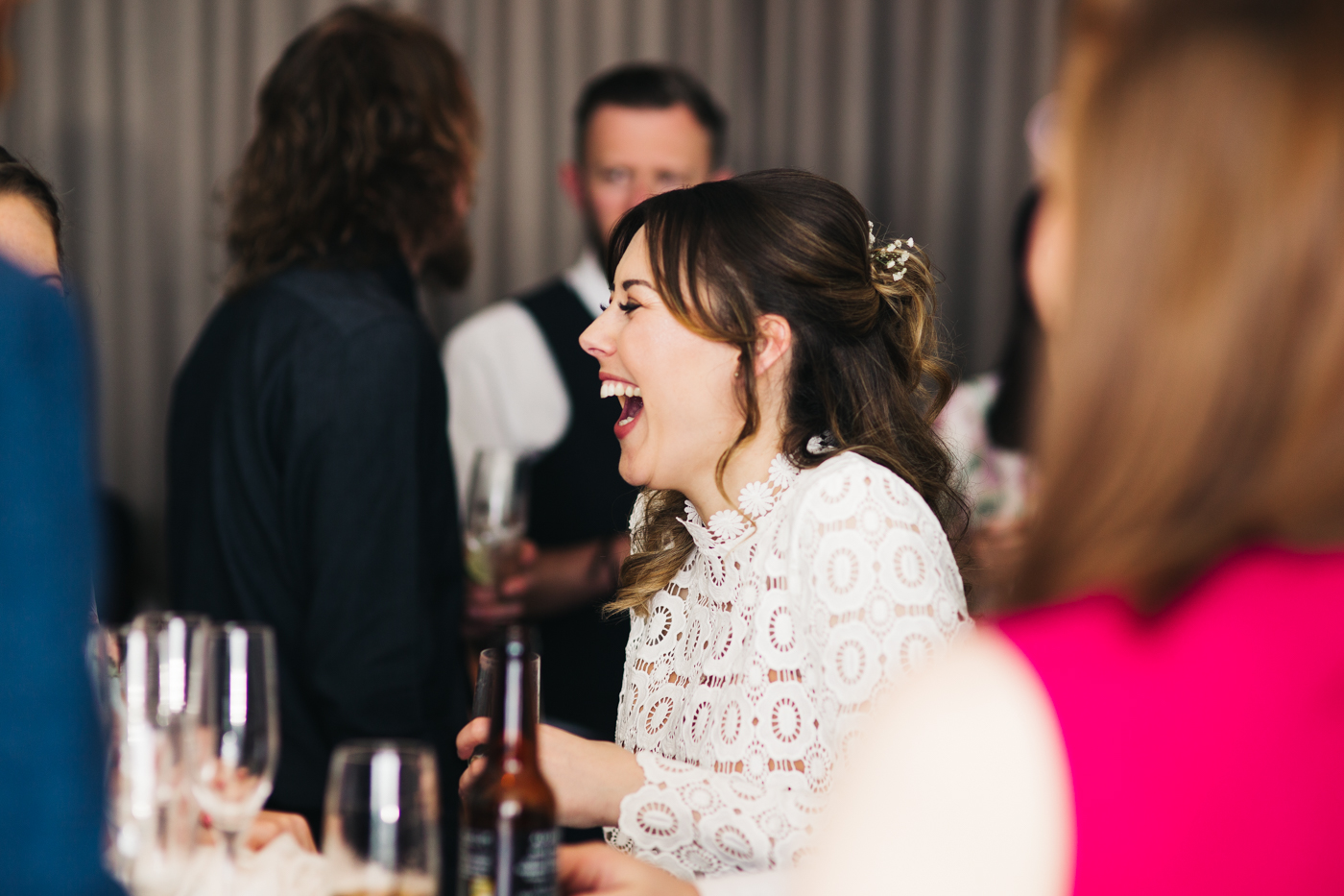 the bride laughs with her guests. wedding at the baltic newcastle gateshead north east photographer