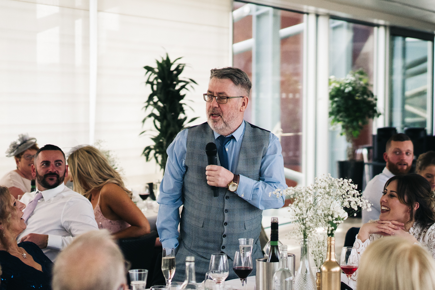 the bride's father makes his speech. wedding at the baltic newcastle gateshead north east photographer