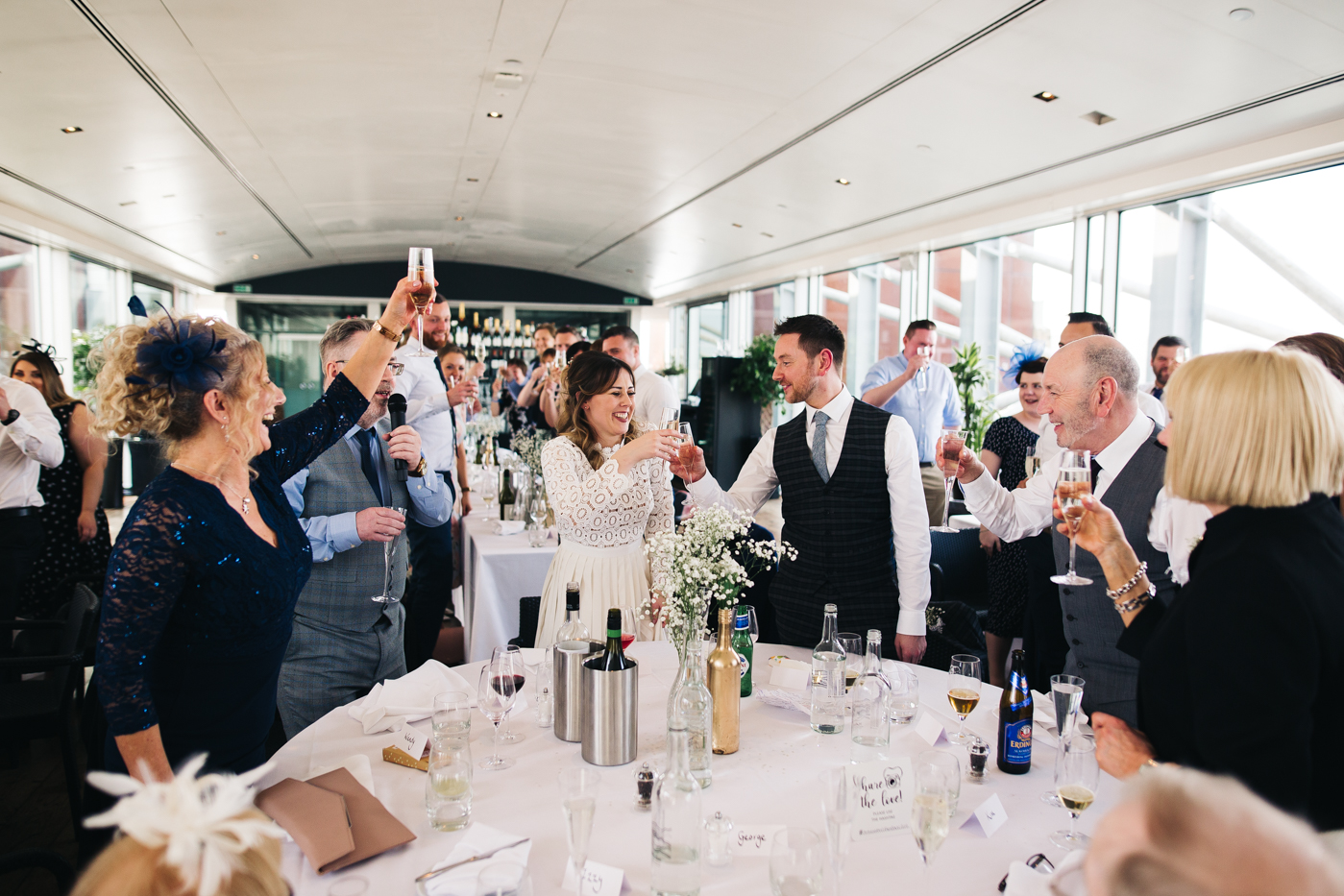 the couple and their guests toast during the speeches. wedding at the baltic newcastle gateshead north east photographer