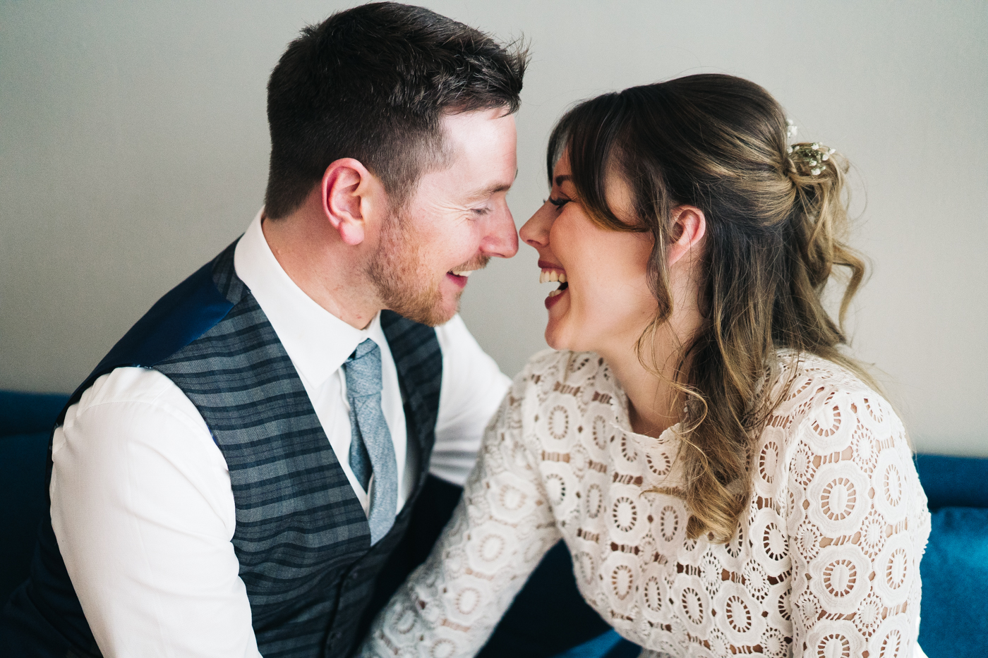 the couple laugh with their faces close together. wedding at the baltic newcastle gateshead north east photographer
