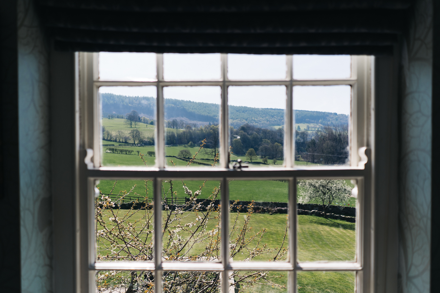 a view of yorkshire from the bedroom window at laskill house. wedding at laskill house north yorkshire helmsley wedding photographer north east teesside