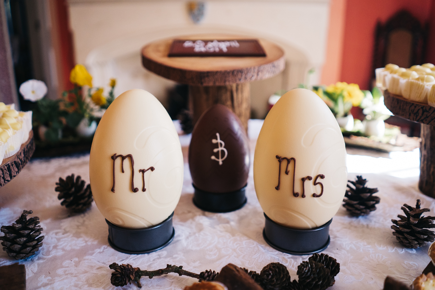 mr and mrs white chocolate eggs. wedding at laskill house north yorkshire helmsley wedding photographer north east teesside