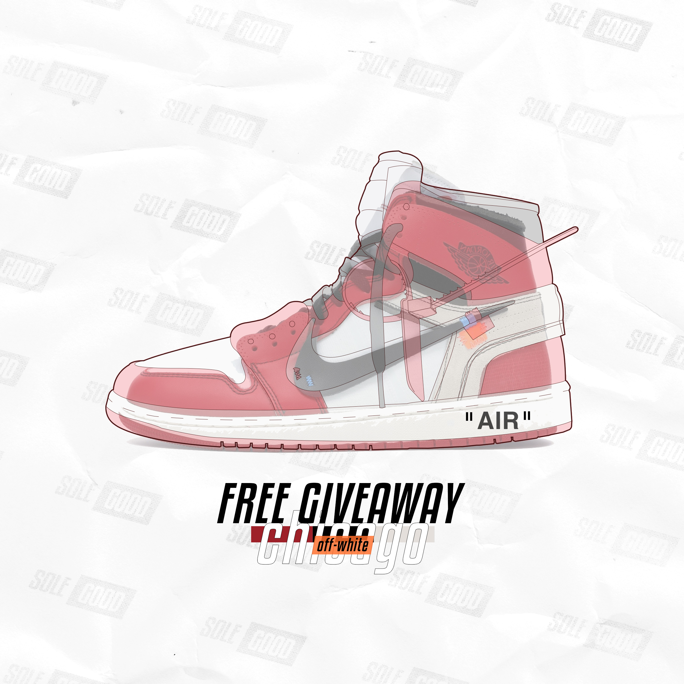 - We are GIVING AWAY a brand new pair of NIKE x OFF-WHITE THE TEN: JORDAN 1 CHICAGO, size 10 FOR FREE to ONE lucky SoleGood 5 ticket holder.—How to Enter:Anyone who purchases a SoleGood 5 ticket(Hyperstrike, Quickstrike, Physical, VIP or door ticket) will be automatically entered into the giveaway. You can purchase as many tickets as you want to increase your chance, no maximum😉. Each ticket is uniquely numbered, we will draw a number via verified RANDOM.ORG live at 3 PM at SoleGood 5. The shoe is currently on the way to Edmonton from StockX, electronic receipt from StockX is available upon request. The prize will be given to the giveaway winner right after the draw. The whole process will be live streamed on Instagram via @sole_good.