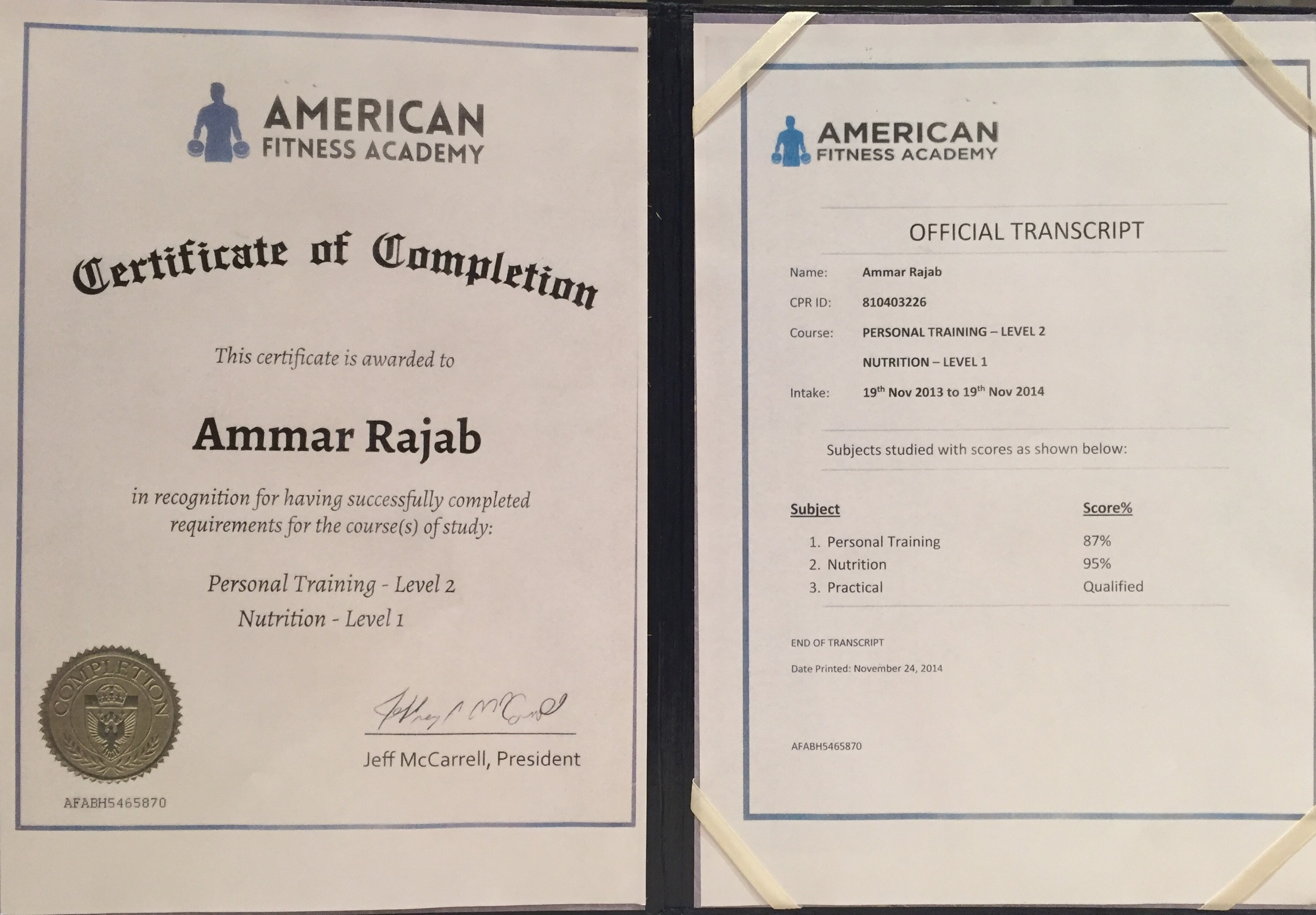 Personal Training Certification by (AFA)