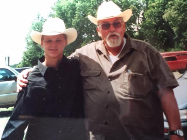 Me at about 14 and that's Grandpa pushing 3 bills, just before he lost 90 lbs and went skydiving. I was a county fair cowboy phenom.