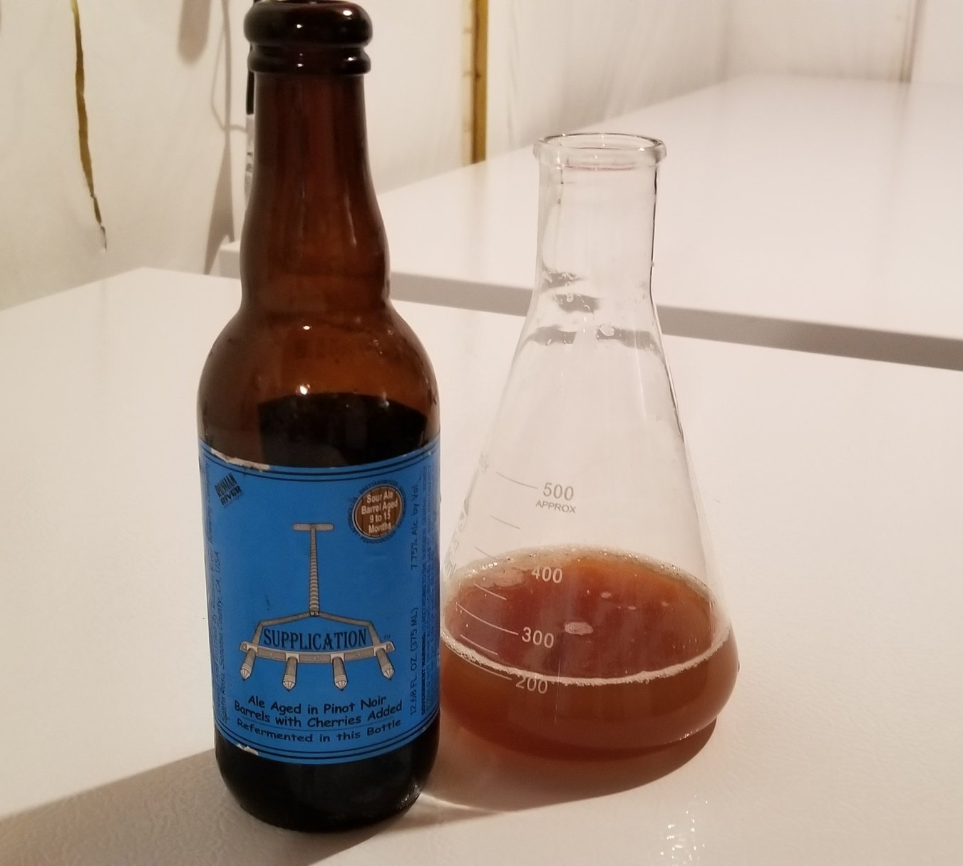 2/28/2018 - With the Wee Heavy yeast nearing its final build up for a brew day on 3/2/2018 it was time to start something fun. A mixed culture bacteria starter. We took 4 different bottles from Russian River and pitched the dregs into some fresh starter wort.