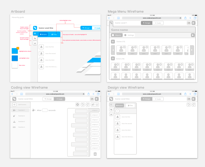 In addition to wireframes, I also was regualrly producing styling concepts - a few usability issues (like distinguishing different code blocks) would require detailed work with the visual designer.