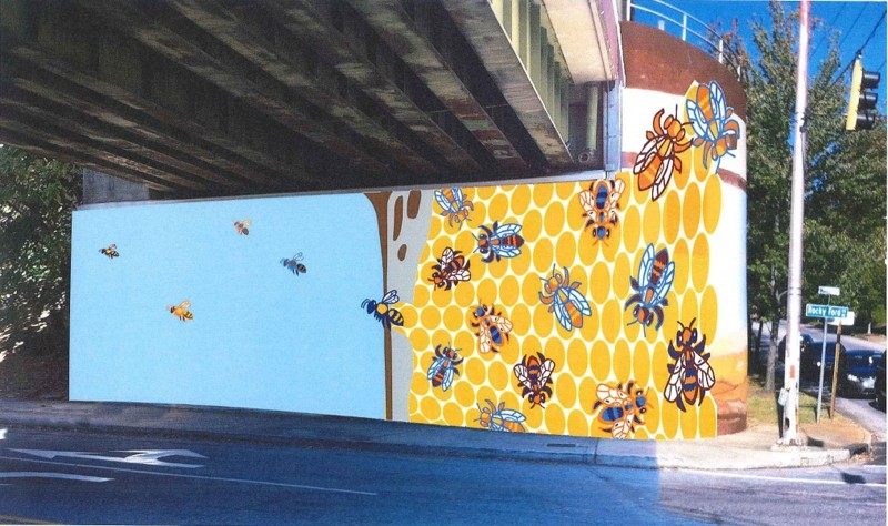 """The Kirkwood mural, """"Kirkwood Hive,"""" by artist Allen Peterson is shown as a rendering. Courtesy Atlanta councilwoman Natalyn Archibong's office."""