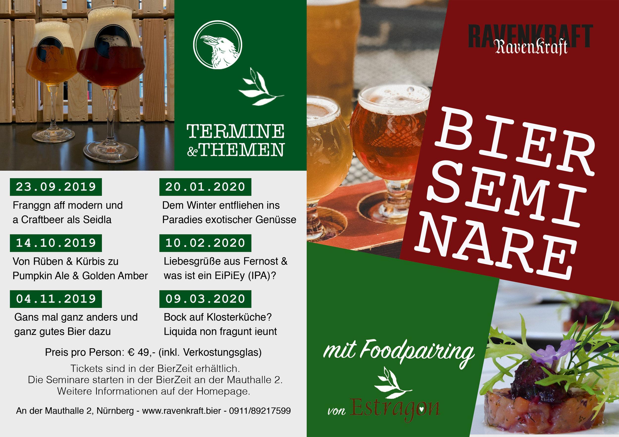 JETZT TERMINE VORMERKEN! - BIER SEMINARE & TASTINGS mit Foodpairing von Estragon.